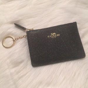 Coach Mini Skinny ID Case Zipper Black/Silver